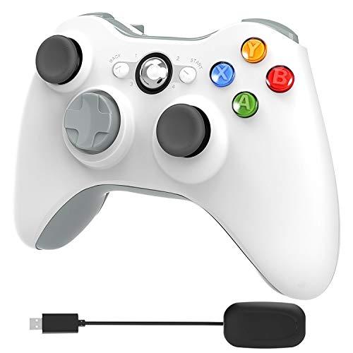 YCCTEAM Wireless Controller für Xbox 360, 2,4 GHz Verbesserter Dual Vibration Xbox 360 Game Controller mit Receiver Remote Gamepad für PC/Xbox 360 (Windows XP / 7/8/10) - Weiß, Keine Audio-Buchse