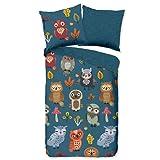 Aminata Kids Bettwäsche Eule 135x200 Kinder Baumwolle blau Eulen-Motiv - Kinder-Bettwäsche-Set für Mädchen, Jungen & Jugendliche - Vogelmotiv Uhu Wald-Tiere-Motiv Tiermotiv
