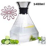 Tll-mm Glaswasserflasche, Edelstahl Krug mit Deckel, Heißes Wasser Kaltes Wasser-Ei...
