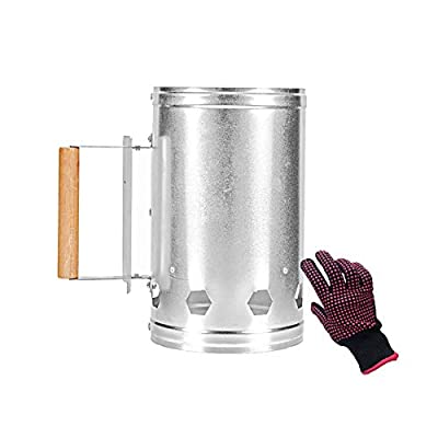 Swanna Rapid Charcoal Chimney Starter Set for BBQ Grills Fireplace Accessories BBQ Heat Resistant Gloves BBQ Tools,Outdoor Cooking Chimney Starter for Charcoal Grill (Silver)