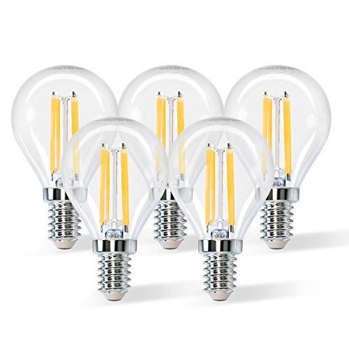 Aigostar Bombilla LED E14 con Filamento,G45 4W equivalente a 40 W,Blanco cálido(2700 K),470 lúmenes,ángulo de apertura:360°,No regulable, Pack de 5 uds.