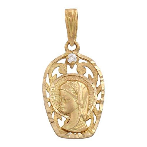 Medalla Oro 18 KL Virgen Niña con circonitas 13 x 21 Mm. una Joya Ideal para Hacer niña Que Vaya a Tomar su Primera Comunión, será un Recuerdo para Toda la Vida
