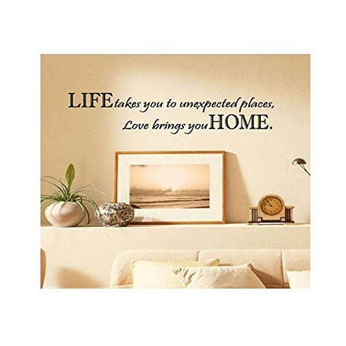 FUBARBAR Life Takes You Unexpected Places Love Brings You HOME Saying Quote Home Decor Art Removable Vinyl Wall Sticker Decals