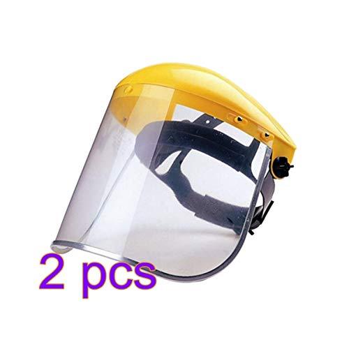 BESPORTBLE 2 STK Gesichtsschutzschild Visier Hut Winddicht Staubdicht Gesichtsschutz Helm Augenschutz Freischneider Maske Visier für Küche Kochen Außen Waldarbeit (Gelb)