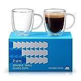 Neegoo Home Large Glass Coffee Mugs, 17 oz Clear Coffee Mug, 500ml 2 Sets Double Wall Insulated Mugs with Big Handle, Insulated Coffee Mugs, Latte Cups, Tea Cups, Large Glass Cups