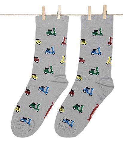 Roits Damen Lustige Vespa Grau Socken 36-40 - Bunte Witzige Socken, Odd Fun Socks