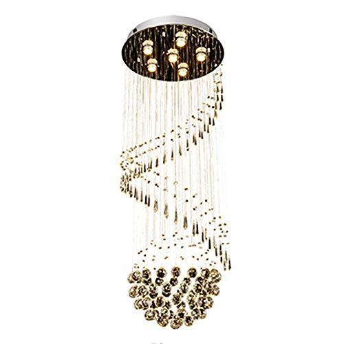GU10 Araña larga de cristal moderna simple, para el ático de la escalera de la escalera de la villa dúplex, Personalidad creativa Escaleras de alambre suspendidas Iluminación-Alambre colgante de color