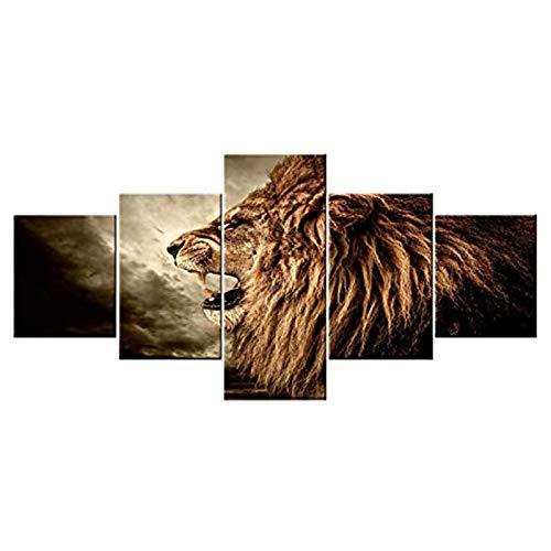 Arte de parede para sala de estar uivando animal leão imagens pinturas de cenário sombrio, impressões de 5 painéis em tela, arte marrom, decoração contemporânea, emoldurada, esticada, pronta para pendurar [127 cm L x 61 cm A]