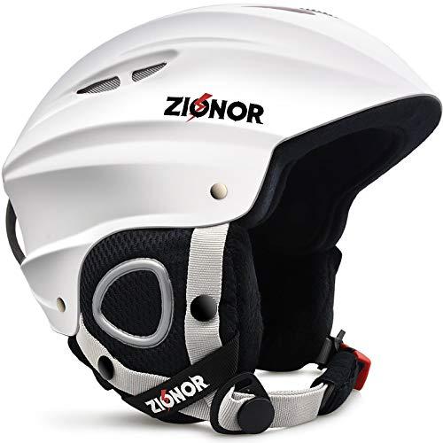 ZIONOR Lagopus H1 Ski Snowboard Helmet for Men Women - Air Flow Control Adjustable Fit White (X-Large)