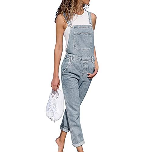 OEAK Damen Latzhose Jeans Jeanshose Trägerhose Jumpsuit Hoseanzug Overall klassisch Denim Ärmellos Playsuits mit Taschen lang Lässig(Hellblau,L)