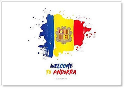 Welcome to Andorra. Kühlschrankmagnet Flagge & Landkarte des Landes, Kühlschrankmagnet