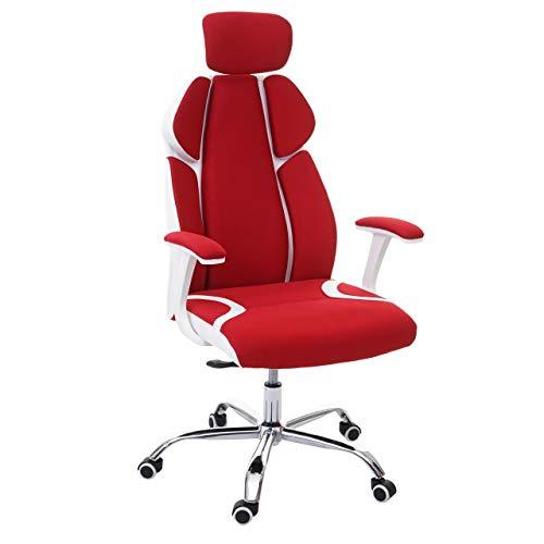 Mendler Bürostuhl HWC-F12, Schreibtischstuhl Drehstuhl Chefsessel, Sliding-Funktion Stoff/Textil + Kunstleder ~ rot/weiß