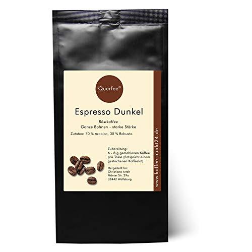 Querfee - Espresso Bohnen - Kaffeebohnen - Kräftiger Espresso Dunkel als Ganze Bohnen - Traditionelle Trommelröstung aus Hamburg - Ein kräftiger Espresso (1000 g)