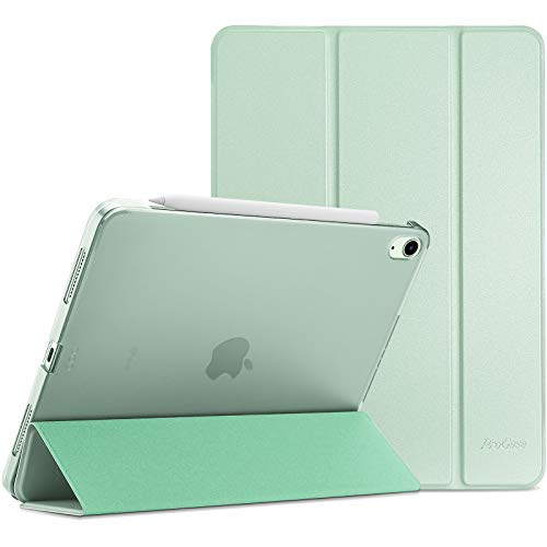 ProCase Hülle für iPad Air 4 Generation 10.9 Zoll 2020, Schutzhülle Case(Unterstützt 2. Gen iPencil Aufladen), Ultra Dünn Leicht Ständer Schal Smart Cover mit Transluzent Frosted Rück -Grün