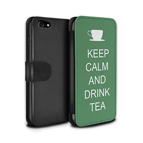 Telefoonhoesje Portemonnee voor Apple iPhone SE 2020 Keep Calm Drink Thee/Green Design Flip Faux PU Lederen Cover Magnetische Sluiting Card Slots