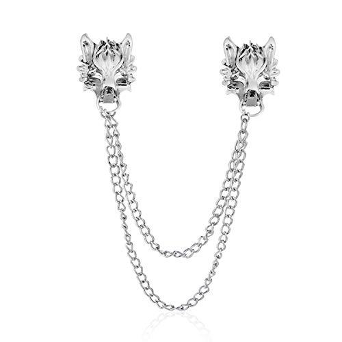 YOOE Punk Wolf Head Long Chain Brooch. Gold Silver Chain Tassel Brooch Pin, Cool Animal Head Collar Coat Pin for Men's Corsage Pin (Silver)