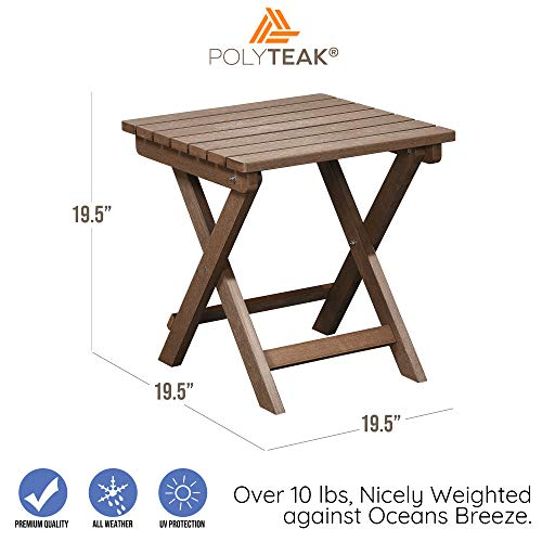 PolyTEAK Folding Outdoor Side Table, Walnut Brown | Weather Resistant, Patio Side Table | Made from Special Formulated Poly Lumber Plastic | Product Weight 15 lb, Fully Assembled
