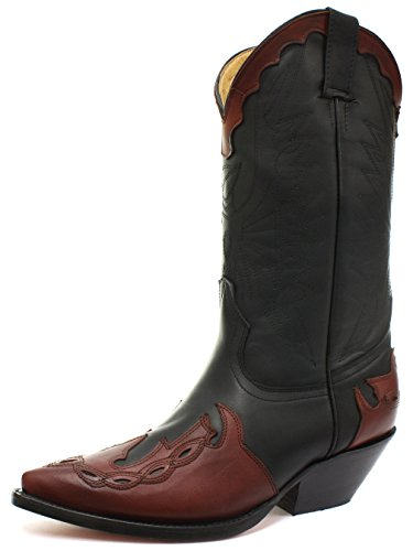 Grinders - Botas de cuero para hombre negro Oily Full Black/Bur, color negro, talla 42