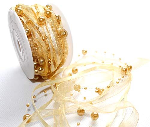 CaPiSo® 10m Schleifenband mit Organza und 4mm Perlen,Perlenband,Geschenkband,Trendyband,Perlen am Band (Gold)