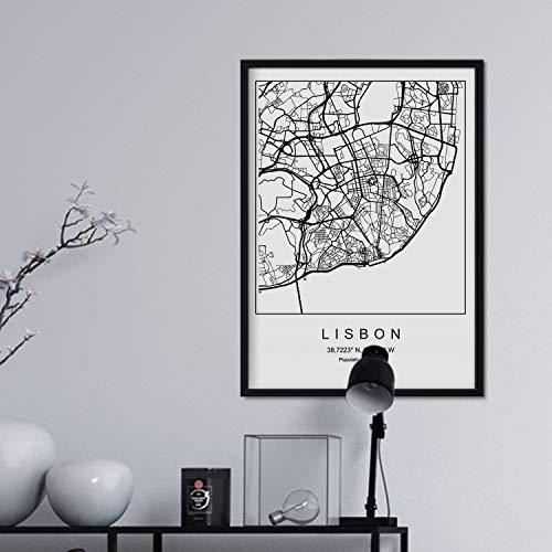 Nacnic Lámina Mapa de la Ciudad Lisbon Estilo nordico en Blanco y Negro. Poster tamaño A3 Sin Marco Impreso Papel 250 gr. Cuadros, láminas y Posters para Salon y Dormitorio