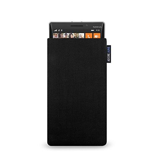 Adore June Classic Schwarz Tasche für Nokia Lumia 930 Handytasche aus beständigem Cordura Stoff   Robustes Zubehör mit Bildschirm Reinigungs-Effekt   Made in Europe