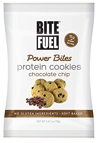 BITE FUEL Power Bites High Protein Cookies, Non GMO, Gluten Free, Low Carb - Chocolate Chip Cookies, 2.47 Oz (Pack of 8) by BITE FUEL