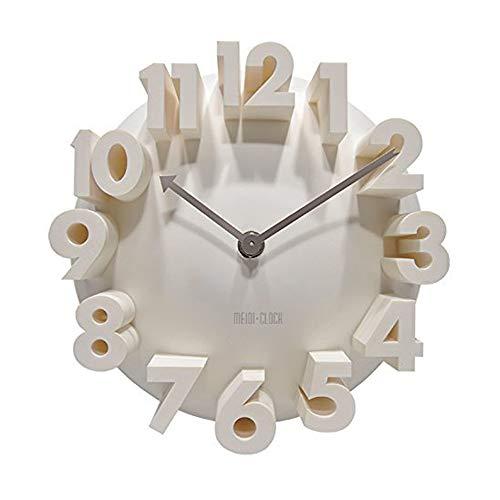 Quadow 3D Big Digital Modern Contemporary Home Office Decor Round Quartz Wall Clock White