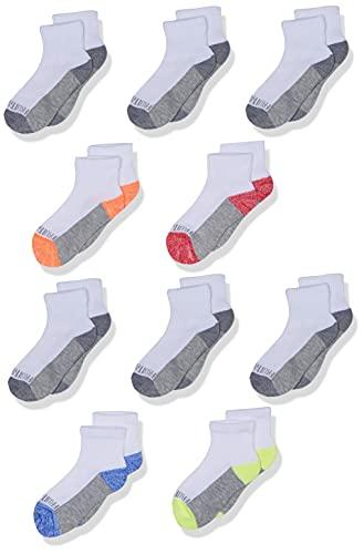 Fruit of the Loom Big Boys' 10 Pack Half Cushion Ankle Socks, White Assort, Shoe Size: 3–9 (Large)