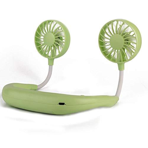 SlimpleStudio USB Recargable Ventilador de Banda para el Cuello,Ventilador de Cuello Colgante Perezoso Cocina casera artefacto Fresco al Aire Libre Mini Ventilador portátil Carga USB-Verde