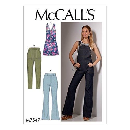Mccall's patronen 7547 A5, mist jeans en overalls, maten 6-14, spleet, multi/kleur, 17 x 0,5 x 0,07 cm