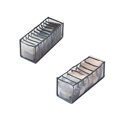 HULIJUAN Mesh Underwear Storage Boxes with 6/7/11 Compartments, Thickened Version Underwear Drawer Organizer Divider, Panties Bra Socks Storage Box B 2PCS Gray