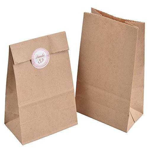 100 Set Geschenktüten, 100 Stück Kraftpapiertüten mit 100 Stück Danke Sticker, 9 x 16 x 5 cm 70 g/m² Braune Papiertüten Kraftpapier Tüten für Geschenkverpackung Brote Keks Ostertüten Weihnachten