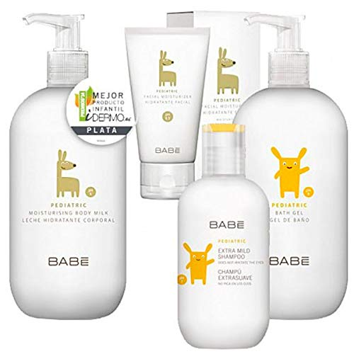 Babé Happy Moments Neceser Pediatric Baby Gel, 500ml + Leche, 500ml+ Champú Extrasuave, 200ml+Hidrantante Facial,50ml