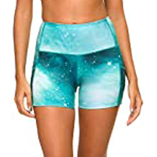 YANFANG Pantalones Cortos de Entrenamiento para Mujer, Scrunch Booty Gym Yoga Pantalones Tie-Dye Pockets, Leggings, Ajustado,con Estampado, para Deporte, Green,XXL