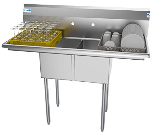 Used 2 Compartment Stainless Steel Nsf Commercial Kitchen Prep & Utility Sink With 2 Drainboards