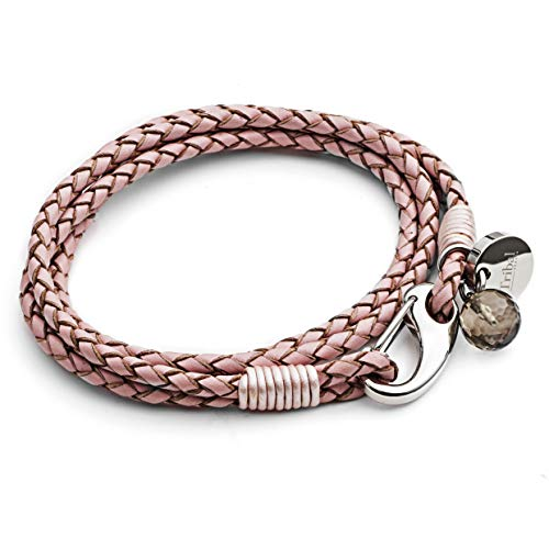 Pink Leather Charm Bracelet for Women, 4-Strand Leather Bracelet with Shrimp Clasp, Crystal Charm + Disc. 19cm, by Tribal Steel