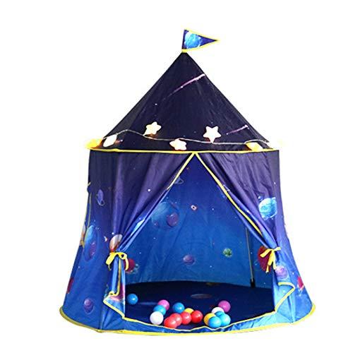 FCFLXJ Niños Plegables Play Carpa, Castillo de Príncipe de Verano Pop Tienda, Playa de Juegos para Interiores y Exteriores, Adecuado para 2-3 Personas,Azul