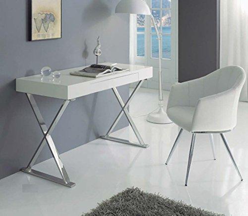 Dugar Home Decoración Beltrán Tables Bureau – Blanc/Chrome – Entrée