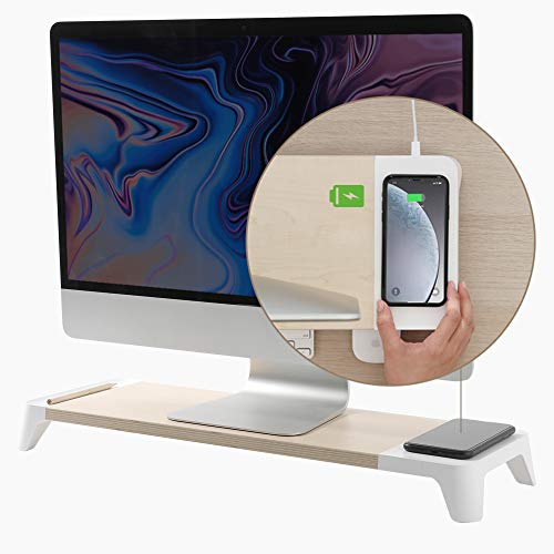 POUT EYES6 Wooden Desk Monitor Computer Stand Riser Shelf + Qi Fast Wireless Charging Charger Pad Mat for Laptop, Apple, iMac, PC, iPhone, Samsung Galaxy, Airpod 2, Buds