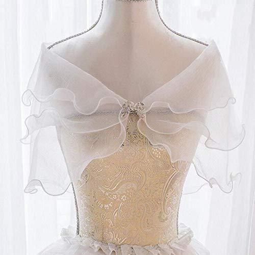 XKMY Chal nupcial blanco elegante multi capa de tul chal de diamantes de imitación boda abrigo nupcial Seersucker corto abrigo hada matrimonio accesorios
