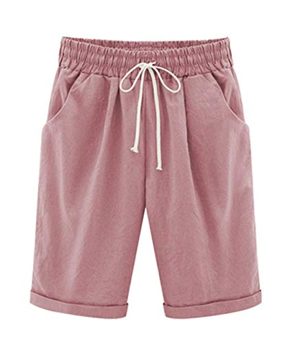 Vcansion Women's Casual Elastic Waist Knee-Length Curling Bermuda Shorts with Drawstring Hot Pink Asian XL/US 4-6