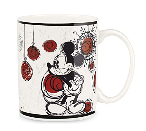 Egan PWM21CH/W Taza Mickey Christmas, Color Blanco, 330 ml, Porcelana