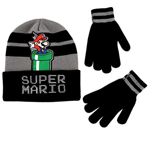 Nintendo Little Boy Winter Hat Set, Super Mario Kids Beanie and Gloves for Age 4-7, Black/Grey Design