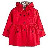 (sleeping sheep) 子供服 キッズ 女の子 スプリング コート フード付き 裏地 かわいい チェック 柄 トレンチコート (130, レッド)