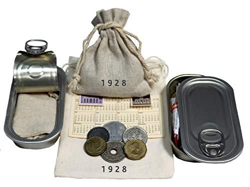 WallaB&u Geschenkidee zum 93. Geburtstag – 6 schöne Münzen, meist aus Deutschland von 1928. Eine Dose zum Verschließen & EIN schönes Leinensäckchen mit Jahrgangsstempel, Taschenkalender. Nostalgie