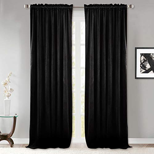 StangH Black Velvet Curtains 96 inches Long - Blackout Thermal Insulated Drapes Energy Smart Repel Summer Hot & Winter Cold Privacy Panels for Home Theater, Black, 52 x 96 inches, 2 Pcs