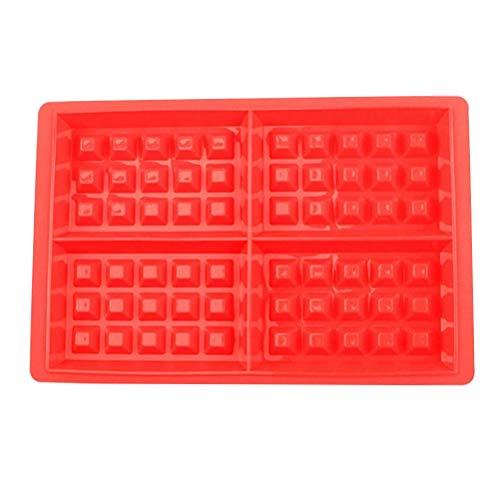 Hemoton Silikon quadratische Waffeleisen DIY quadratische Antihaft-Aluminiumlegierung Kuchenform für Chef Baker (Rot)