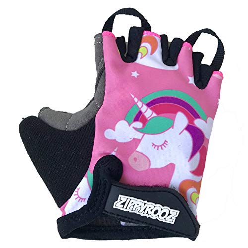 ZippyRooz Toddler & Little Kids Bike Gloves for Balance and Pedal Bicycles for Ages 1-8 Years Old. 8 Designs for Boys & Girls (Unicorn, Little Kids Medium (3-4))