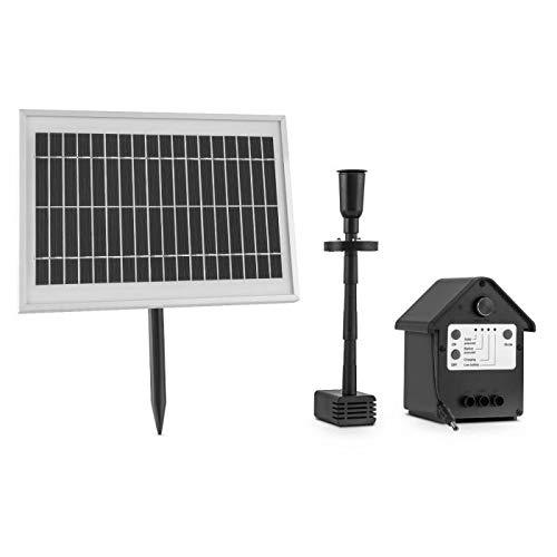 blumfeldt Wasserwerk 500 Black Edition - Bomba de Agua Solar para estanques, Panel Solar 5W, Flujo 500l/h, Proyección de Agua, Modo surtidor o Cortina, Corona de Leds, Autonomía de 4h, Negro