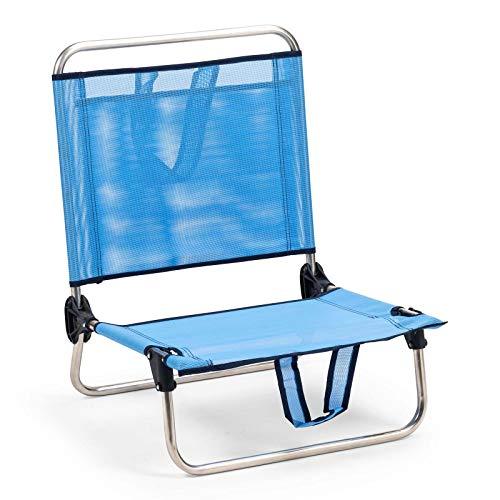 Solenny 50001072725250 8434826105250-Silla de Playa Plegable Respaldo Bajo con Bolsillo y Asas, Azul